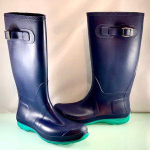 Kamik Rain Boots Size 8 Navy Blue and Teal